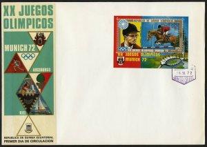C03 Equatorial Guinea Oversized FDC 1972 Munich Olympics Equestrian Sheetlet