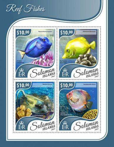 SOLOMON ISLANDS - 2017 - Reef Fishes - Perf 4v Sheet - MNH