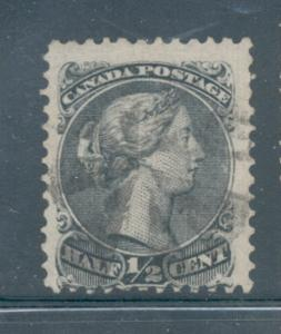 Canada Sc 21 2868 1/2 c black large Victoria stamp used