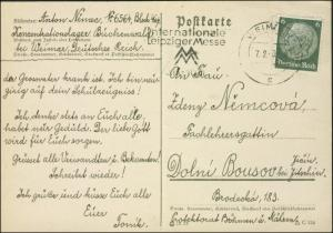 1943 Germany Buchenwald Concentration Camp Postcard Cover Anton Nenec to Bohemia