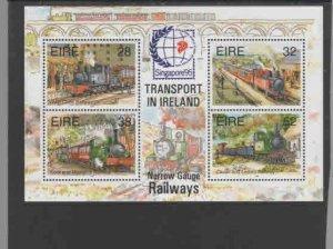 IRELAND #959a  1995 NARROW GAUGE RAILWAYS OVPRT   MINT  VF NH  O.G  S/S  b