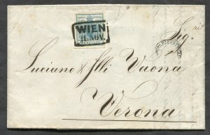 p649 - AUSTRIA 1851 Folded Cover to ITALY. 9kr Stamp Scott #5
