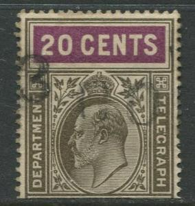 CEYLON - Scott ?- KEVII - Telegraph Stamp - 1903 ?- Used -Single 20c Stamp