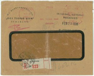 93713 -  DUTCH INDIES - POSTAL HISTORY - RED Mechanical postmark on COVER  1938