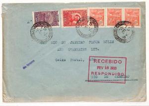 BRAZIL Cover Rio De Janeiro FLOUR MILLS & Granaries {samwells-covers] 1933 AE98