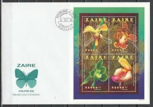 Zaire, Mi cat. 1149-1152 A. Orchids sheet of 4 on a First day cover.