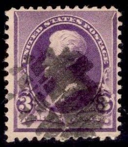 US Stamp #221 3c Purple Jackson USED SCV $9.00