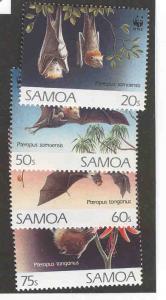 SAMOA 827-830 MNH BATS, WWF WORLD WILD LIFE FUND 1993