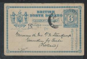 NORTH BORNEO (P2707B) 1914 6C PSC FUDAT VIA SINGAPORE TO HOLLAND
