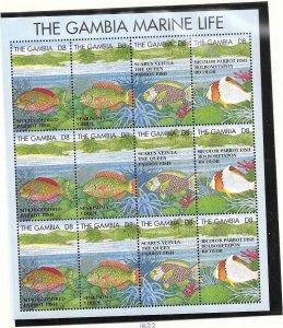 Gambia #1622  3d  The Gambia Marine Life  Sheet of 12  (MNH) CV10.00