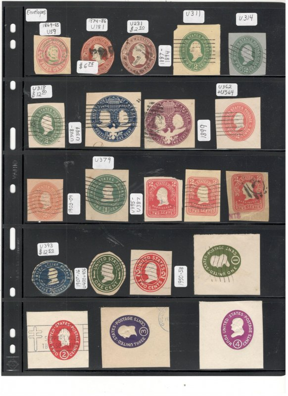 US CUT SQUARE COLLECTION, 1800'S ON, MINT/USED
