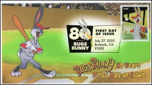 20-207, 2020, SC 5502, Bugs Bunny, First Day Cover, Digital Color Postmark, 80th