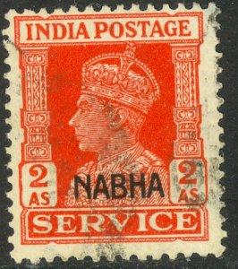 INDIA ICS NABHA 1942-44 KGVI 2a Scarlet OFFICIAL Scott No. O46 VFU