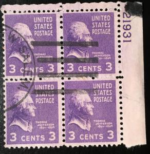 807 Jefferson, Presidents, Circ. Plate Block, Vic's Stamp Stash