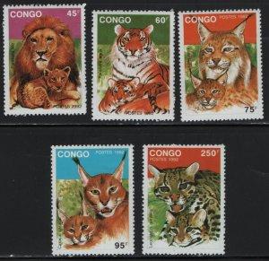 CONGO, 978-982, (5) SET, MNH, 1992, Wild Cats
