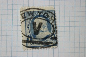 US sc#219 New York NY Roman Numeral Oval fancy cancel V- faulty stamp