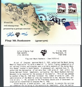 Pugh Designed/Painted Flag Mt. Rushmore FDC...106 of 161 created!