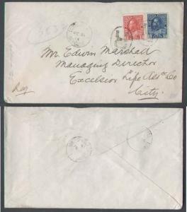 Canada #5954 - 2c + 5c Admiral reg'd - York Cnty - Toronto , Ont - Oc 31 1913 -