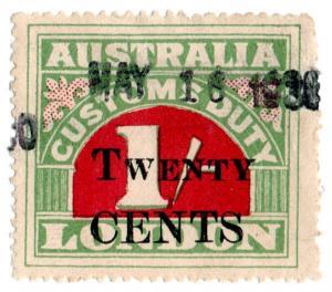 (I.B) Australia Revenue : Customs Duty 20c on 1/- OP
