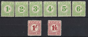 BC904) Fiji Postage Dues 1940 set of 8 to 1/6d SG D11-18, hinge remains Mint