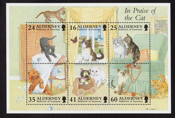 Alderney  #92-97a   1996 MNH sheet  domestic cats