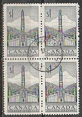 #321 Canada Used block of 4 CDS cancel
