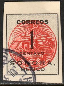MEXICO 394, 1c SONORA COACH SEAL. USED. F-VF. (510)