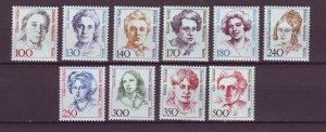 J25003 JLstamps 1986-9 germany berlin hv,s of set mnh #9n523-532 famous women