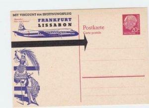 germany 1950s Viscount 814 Frankfurt to  Lissabon  flight  stamps card  r19809