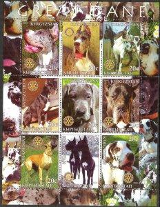 Kyrgyzstan 2004 Rotary Dogs Great Dane Sheet of 9 MNH Cinderella !