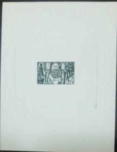 O) 1955 TUNISIA. PROOF, ROTARY INTERNATIONAL -EMBLEM -MAP AND SYMBOLS OF PUNIC R