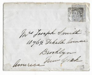 Birmingham, England to Brooklyn, New York, USA 1881 Cover Scott 82 Plate 23