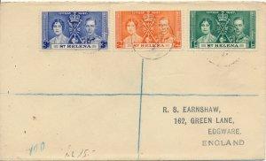 ST. HELENA 1937 CORONATION FDC