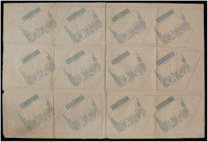 2d QV Mulready Lettersheet uncut sheet of 12 Stereo a195 UNUSED