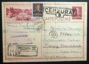 1944 Romania Postcard Cover To Nagy Kanizsa Internment Prisoner Of War POW Camp