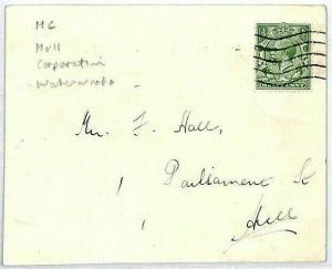 CS348 GB PERFIN Cover *Hull Waterworks* 1933 Card Yorks ENGINEERING {samwells}