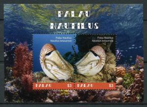 Palau 2018 MNH Palau Nautilus 2v S/S Corals Molluscs Marine Animals Stamps