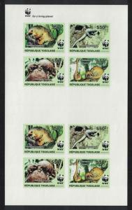 Togo WWF Three-cusped Pangolin Imperf Sheetlet of 2 sets