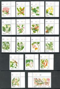 PALAU 1987-88 INDIGENOUS FLOWERS Set in PLATE NO. SINGLES Sc 126-142 MNH