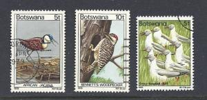 Botswana #202,204,307. Used CV$2.55. Birds