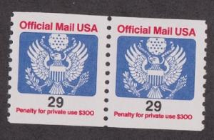O145 29c Official Mail MNH coil pair