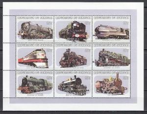 Senegal, Scott cat. 1388. Locomotives sheet of 9. ^