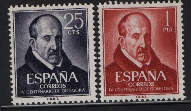SPAIN 1008-1009, Hinged, 1961 Luis de Argote y Gongora