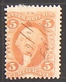 USA, 1862-71, 5 Cents, Inter Revenue Certificate Stamp, (2105-Т)