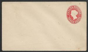 CANADA QV 3c stationery envelope unused....................................47455