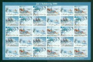 Denmark. Southslesvig Christmas Sheet 1989 Mnh, Folded. Winter In Southslesvig.