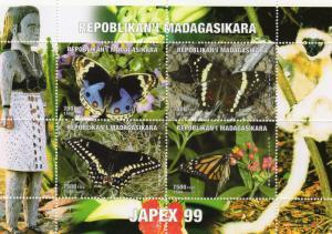 Madagascar MNH M/S 1999 JAPEX 99 Butterflies Mariposas Borboletas Lemur [111078]
