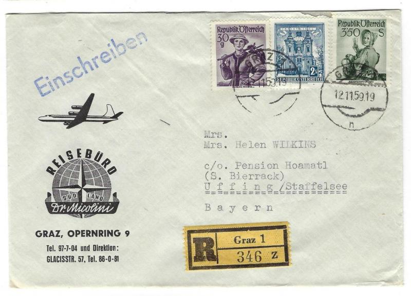 1959 Austria To Germany Registered Cover - Grand Opening Business Cover (OO171)