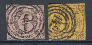 Thurn & Taxis Sc 45, 46 used 1852 6kr & 9kr imperf Numerals, sound & Fine