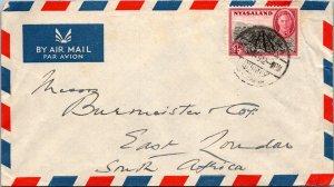 1949 NYASALAND SINGLE KING TO SOUTH AFRICA ( Postal History ), 1949